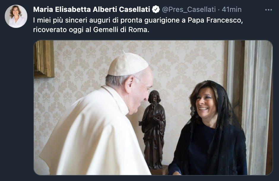 Il tweet di Elisabetta Casellati