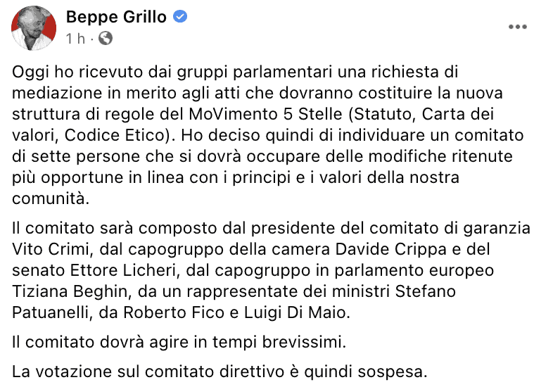 Il post di Beppe Grillo