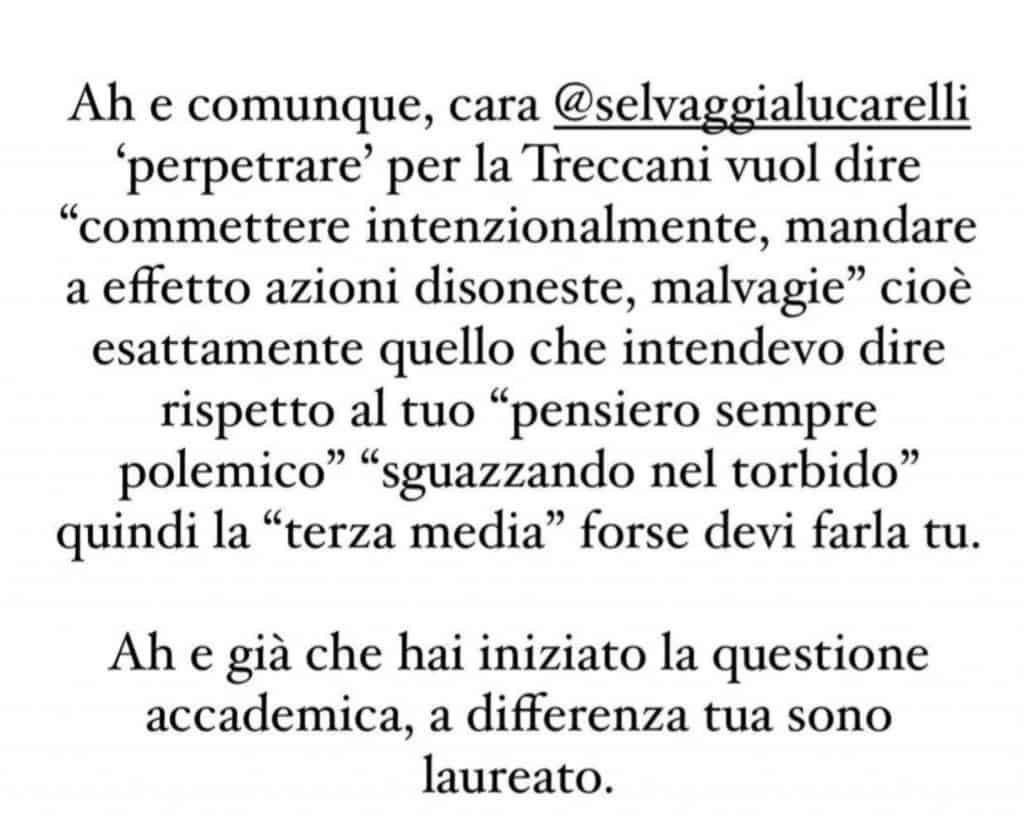 Replica a Selvaggia Lucarelli di Tommaso Zorzi