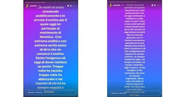 Sarah Nile sfogo matrimonio Veronica Ciardi