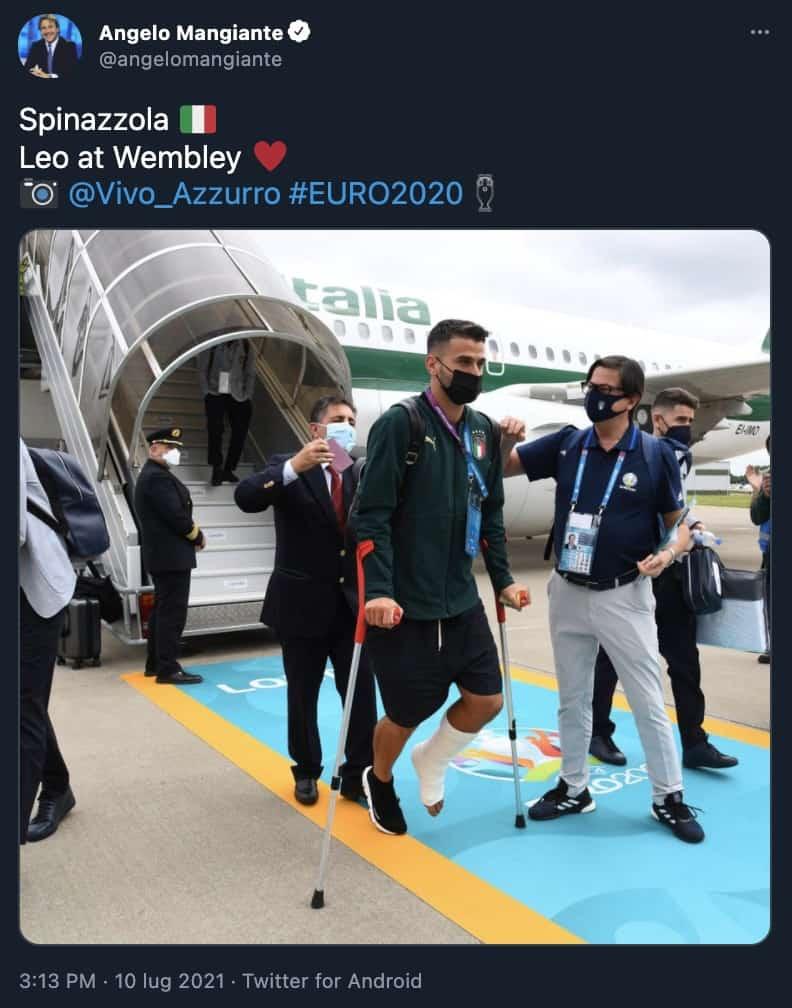 Spinazzola arriva a Londra con gli Azzurri
