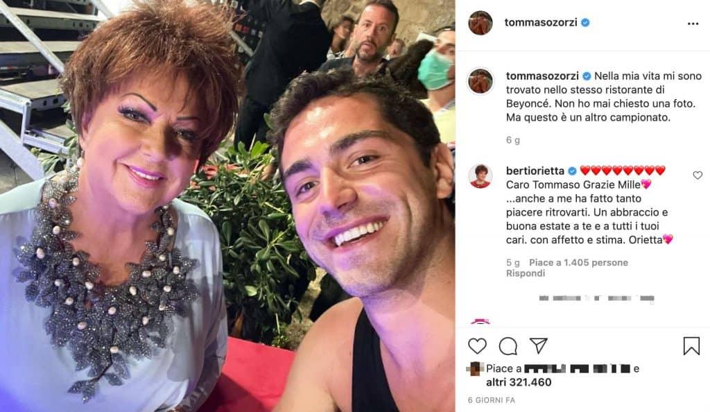 Tommaso Zorzi e Orietta Berti