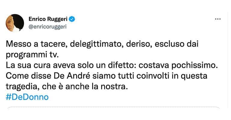 Tweet di Enrico Ruggeri