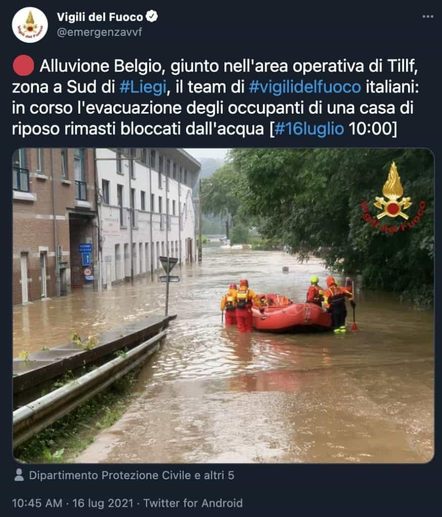 Tweet dei Vigili del Fuoco