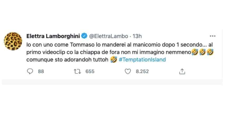 Elettra Lamborghini commenta Tommaso in un tweet