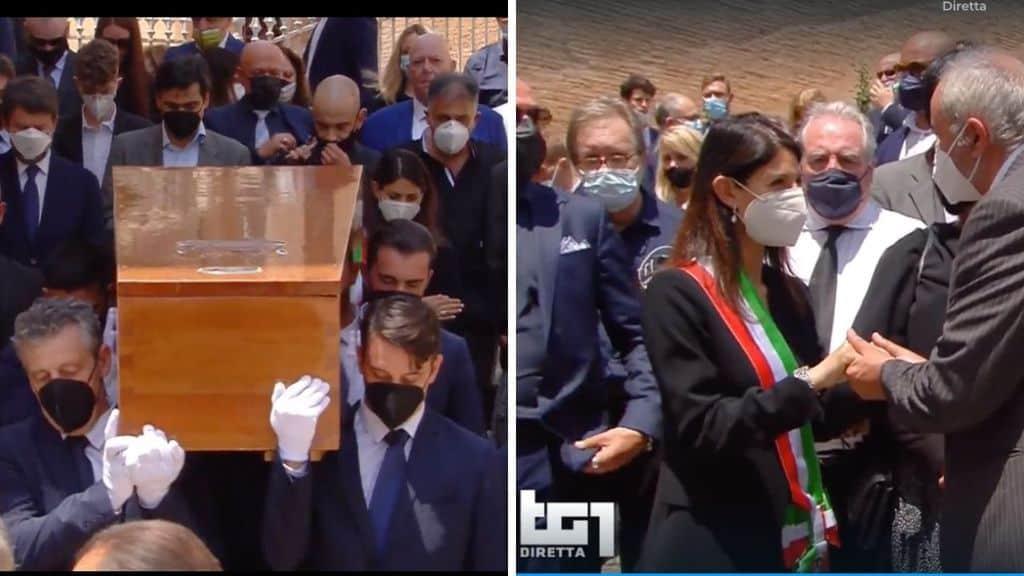 Il ricordo di Virginia Raggi e Lorena Bianchetti al funerale di Raffaella Carrà