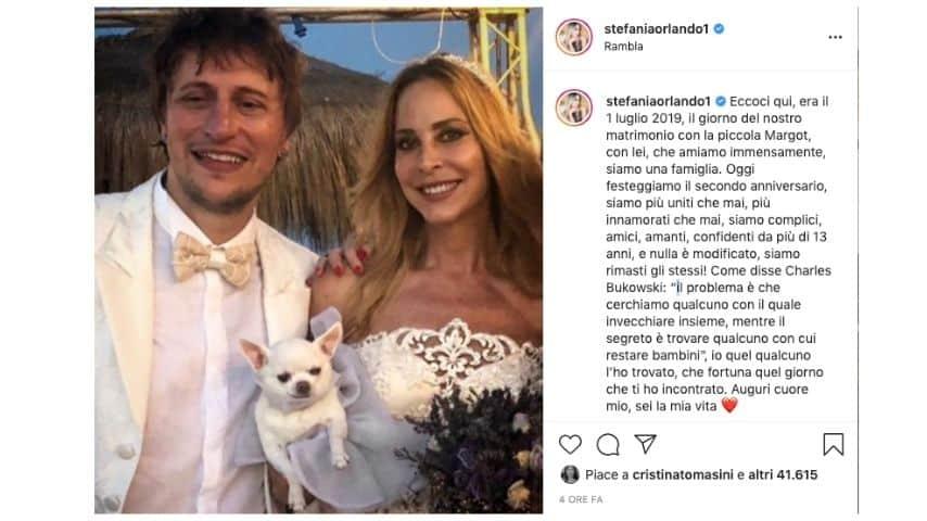 Il post di Stefania Orlando per il secondo anniversario con Simone Gianlorenzi