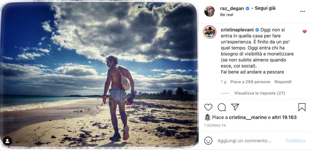 Il commento di Cristina Plevani al post di Raz Degan