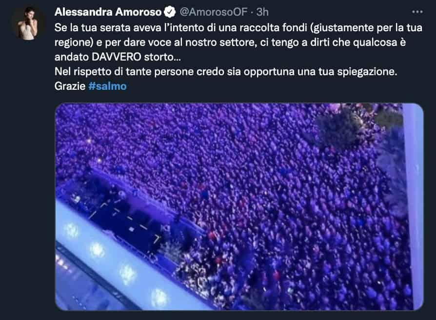 Il tweet di Alessandra Amoroso