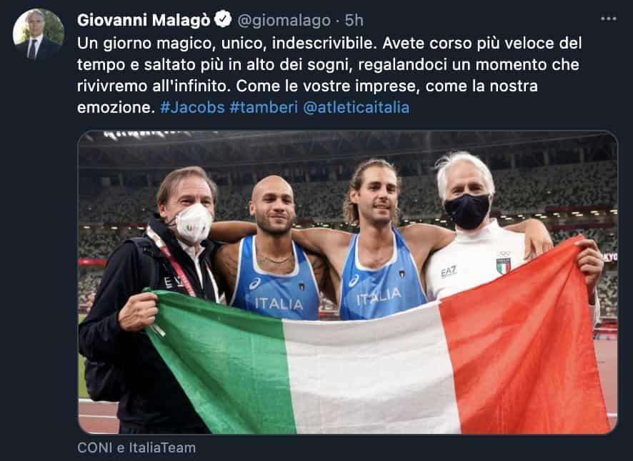 Il tweet di Giovanni Malagò