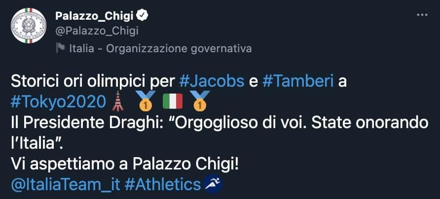 Il tweet di Palazzo Chigi