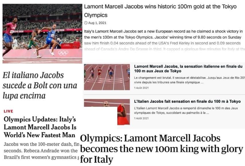 La celebrazione della vittoria di Jacobs sui siti dei quotidiani internazionali