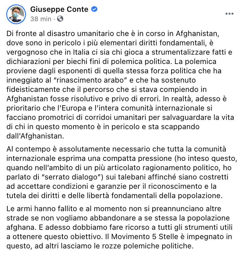 Replica di Conte su Facebook