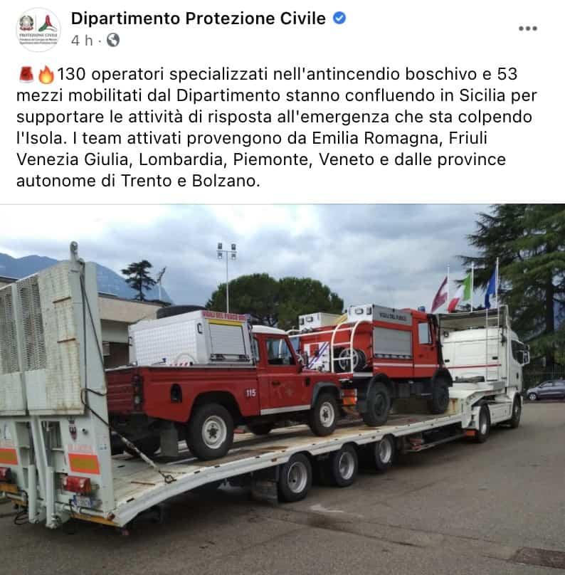 Post Facebook della Protezione Civile