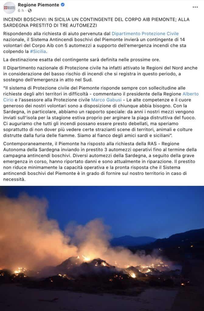 Post Facebook della Regione Piemonte