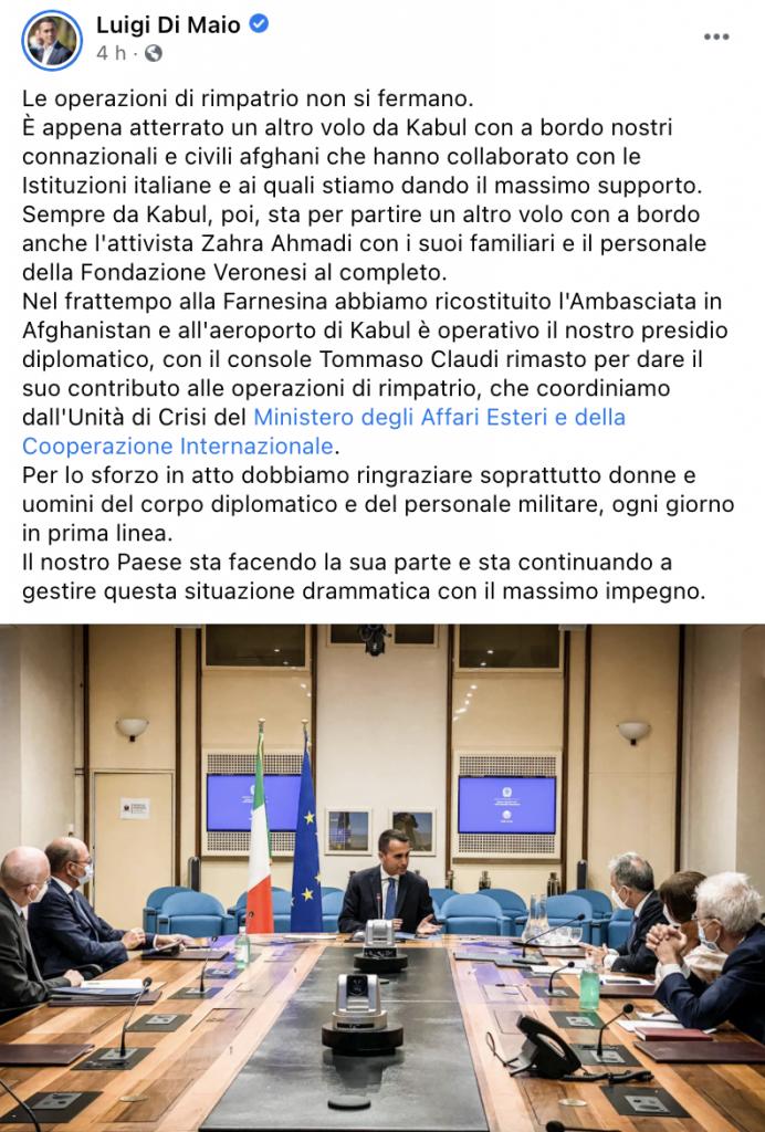Post Facebook di Luigi Di Maio
