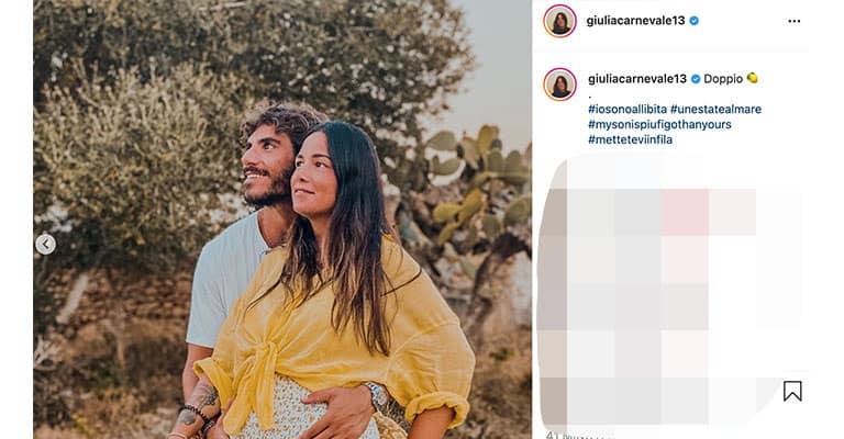 Post di Giulia Carnevale sulla gravidanza, Instagram