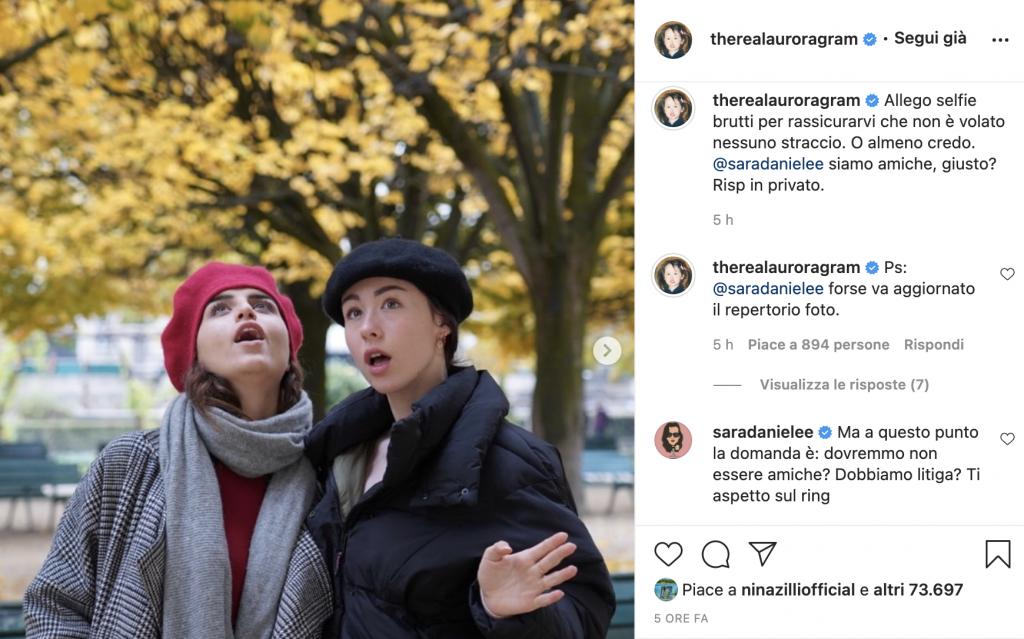 Post Instagram di Aurora Ramazzotti