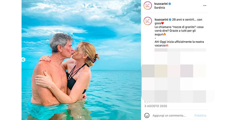 Post di Lorella Cuccarini con il marito su Instagram