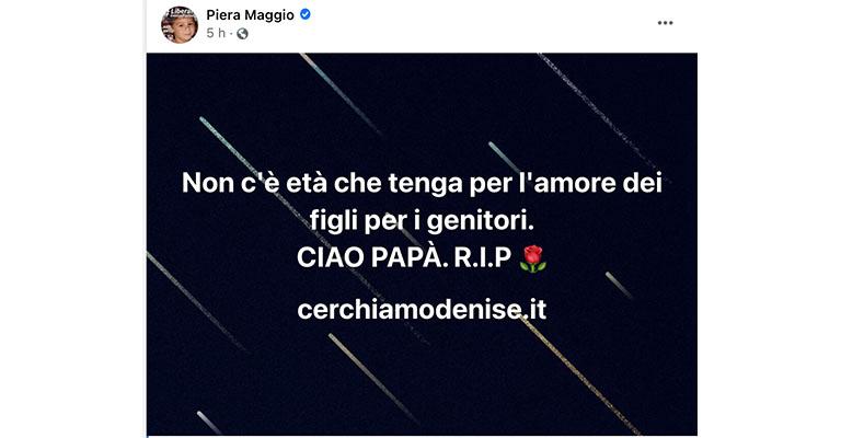 Post di Piera Maggio su Facebook