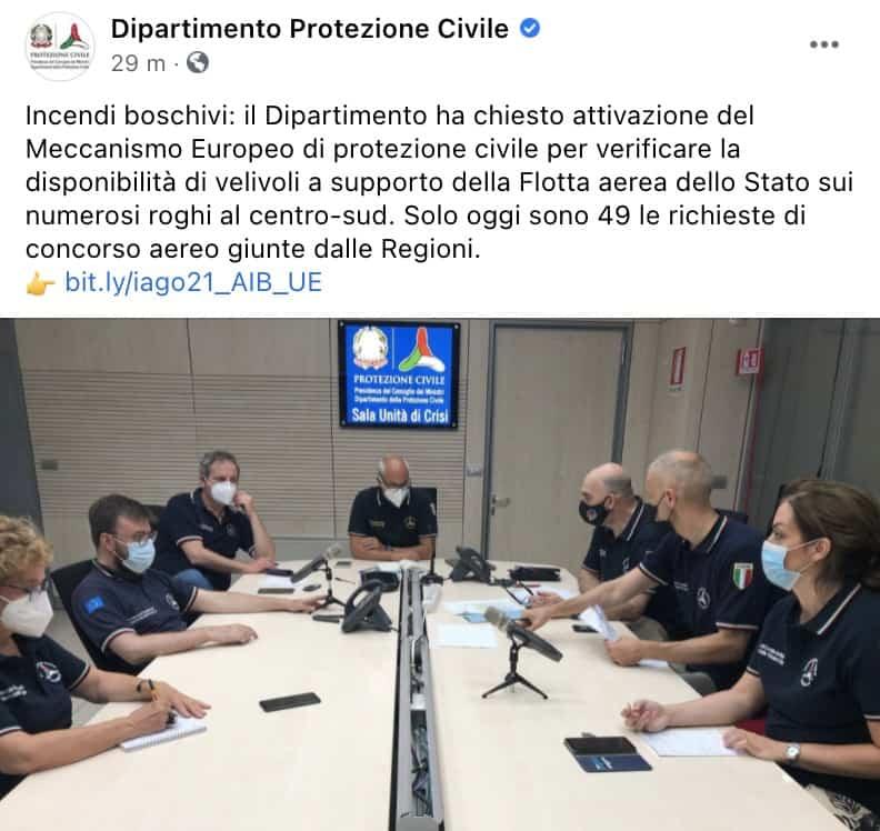 Protezione Civile post su Facebook meccanismo europeo