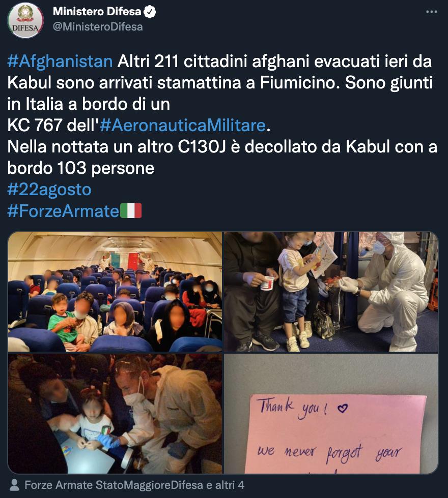 Tweet del Ministero della Difesa