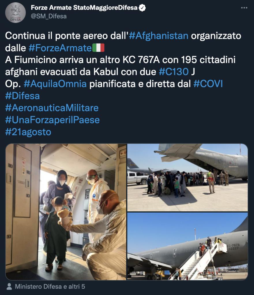 Tweet dello Stato Maggiore della Difesa