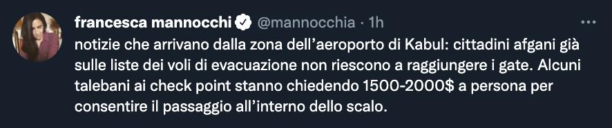 Tweet di Francesca Mannocchi