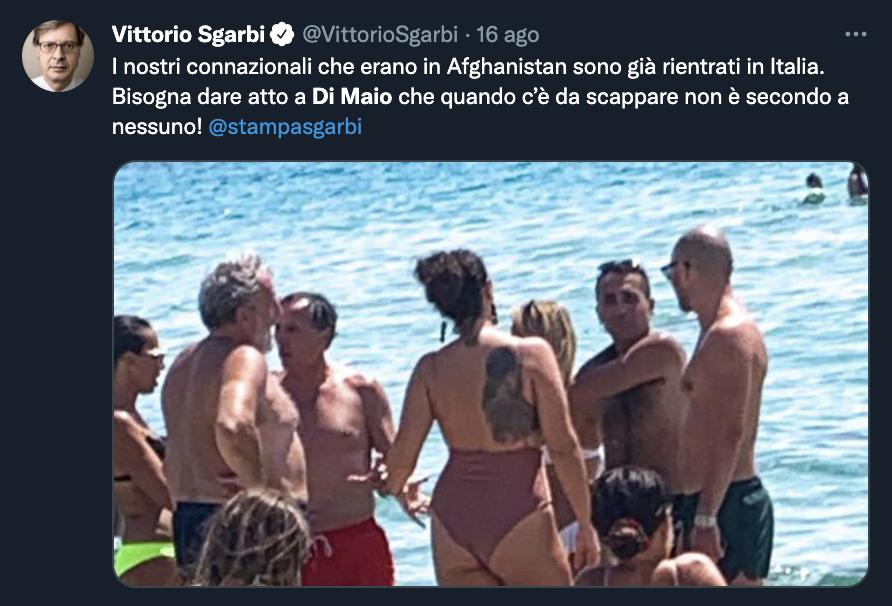 Tweet di Vittorio Sgarbi