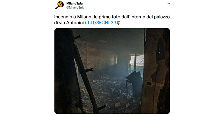 Un tweet mostra la foto dell'interno del palazzo bruciato a Milano