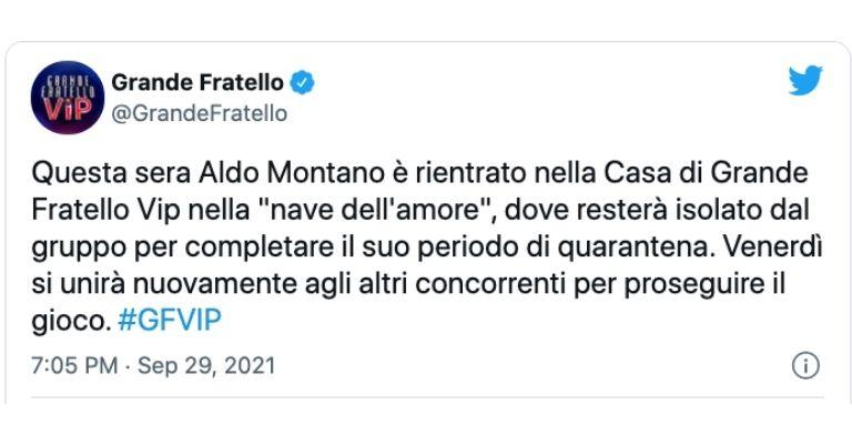 GF Vip comunicato Aldo Montano