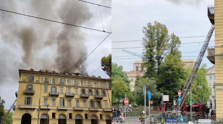 Incendio a Torino, fumo e fiamme invadono la stazione Porta Nuova. I vigili del fuoco in azione. Video e foto