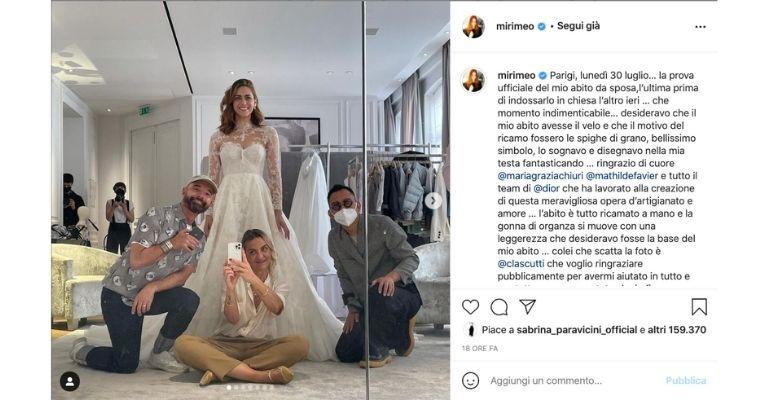 Miriam Leone matrimonio abito