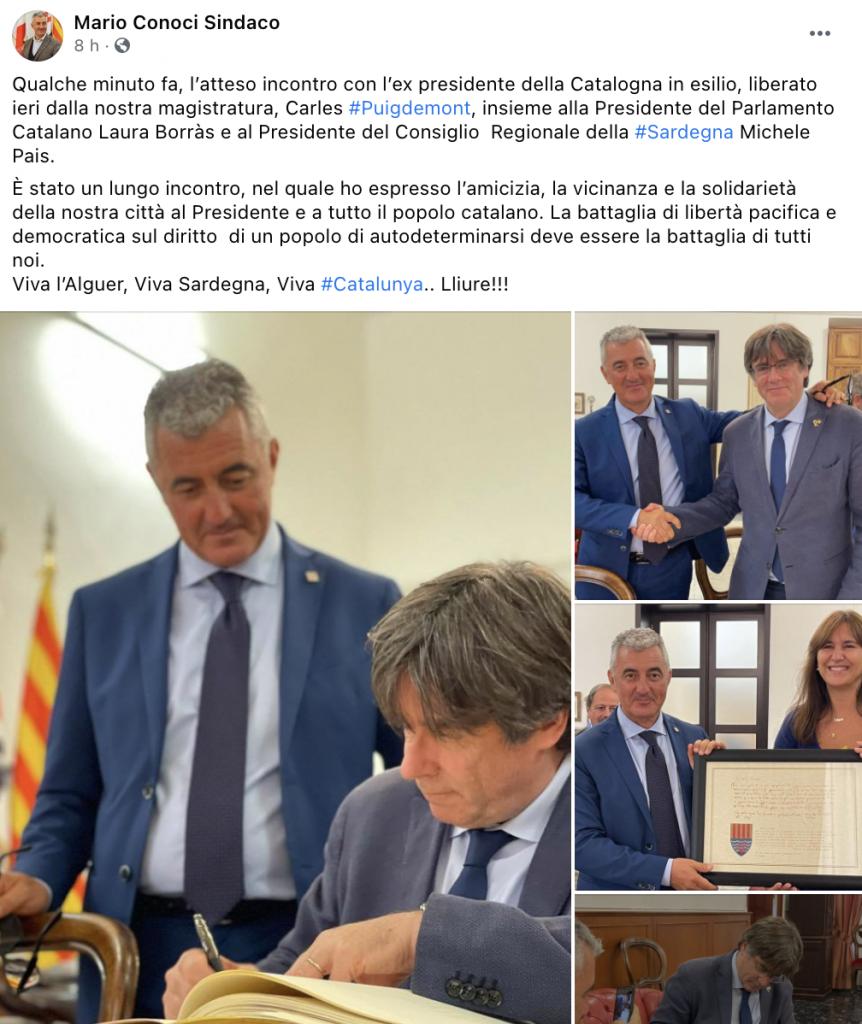 Post Facebook del sindaco di Alghero