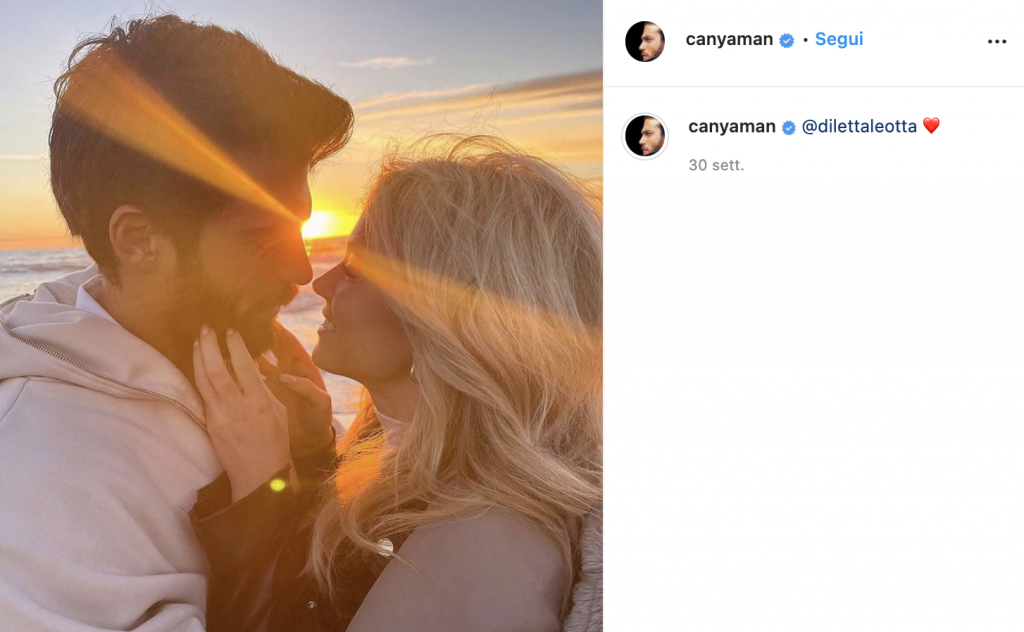 Post Instagram Can Yaman e Diletta Leotta