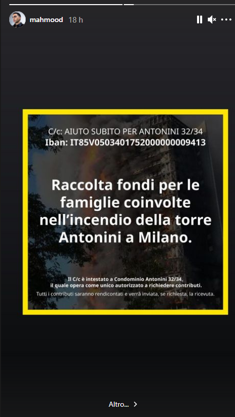 Mahmood lancia una raccolta fondi su Instagram per la palazzina bruciata a Milano
