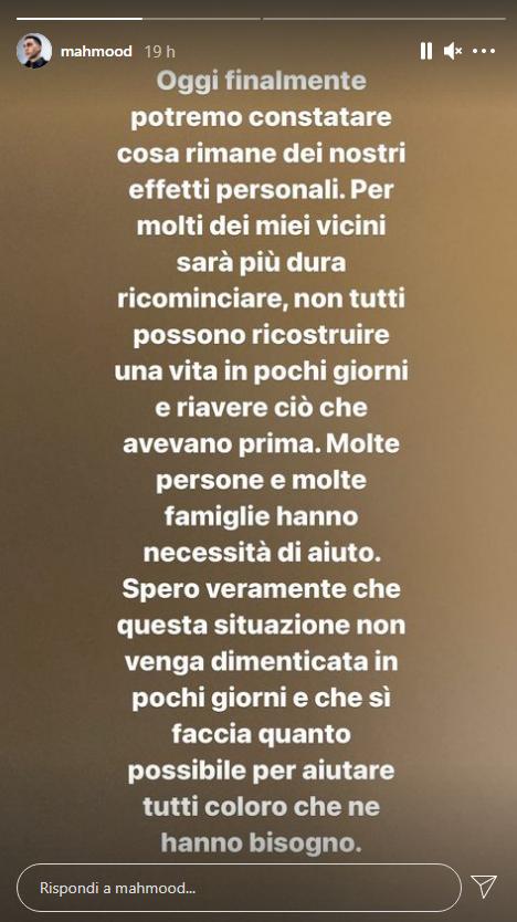 Mahmood parla su Instagram dell'incendio della palazzina a Milano
