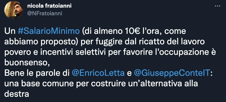 Tweet di Nicola Fratoianni