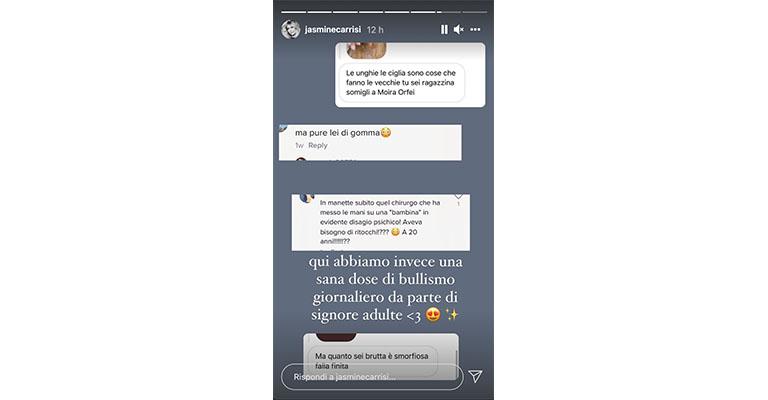 Instagram Story di Jasmine Carrisi
