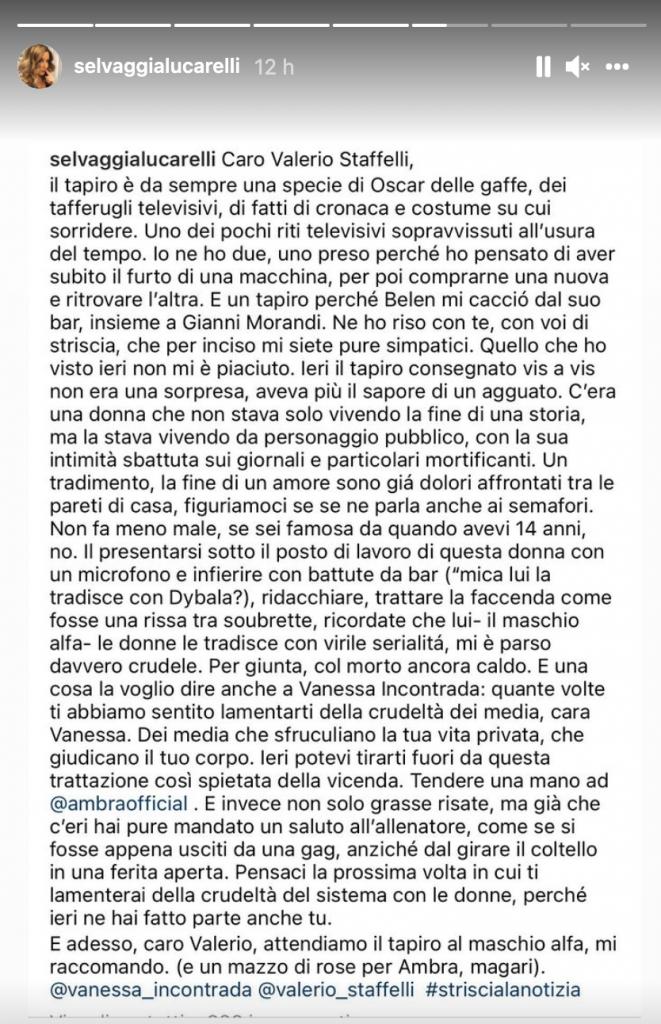 Storia Instagram di Selvaggia Lucarelli