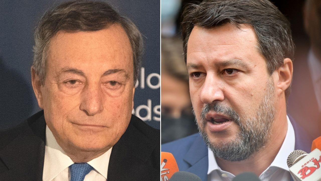 """Mario Draghi, botta e risposta con Matteo Salvini su tasse e patrimoniale: """"Il governo va avanti"""""""